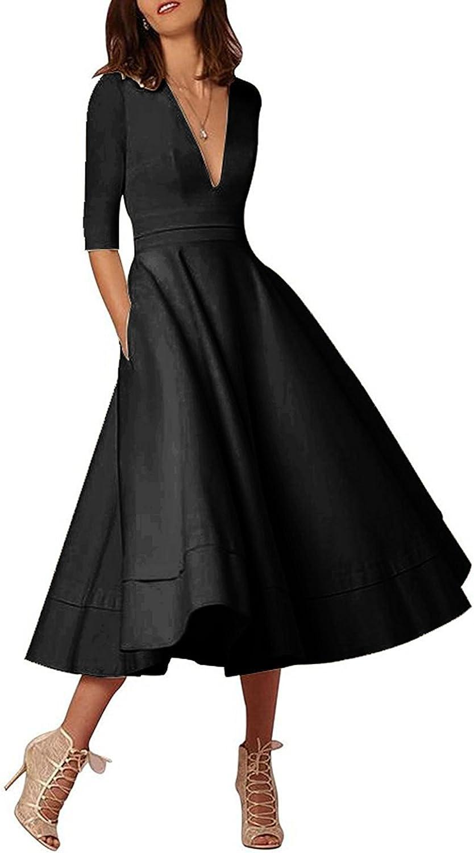 Ellystar Women's V Neck Half Sleeve Luxury with Tea Length Satin Evening Dresses