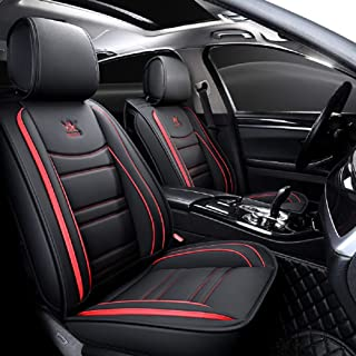 OUTS Luxury Leather Auto Car Seat Covers 5 Seats Full Set Universal Fit (Black-Red)