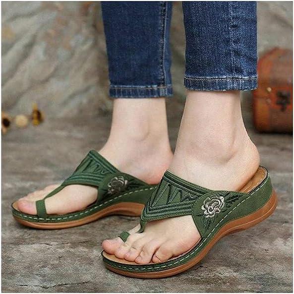2021 New Summer Flip Flops for Women, Stretch Orthotic Slide Sandals Cross Sandals Woven Beach Wedge Slippers Shoes, Shower Slipper Flip-Toe Wedge Sandals for Women