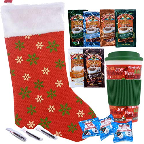 Christmas Stocking Stuffers Gift Set Includes Holiday Travel Mug, Hot Chocolate, Chocolate Covered Peppermint Sticks & Marshmallows | Presents in Beautiful Holiday Stocking