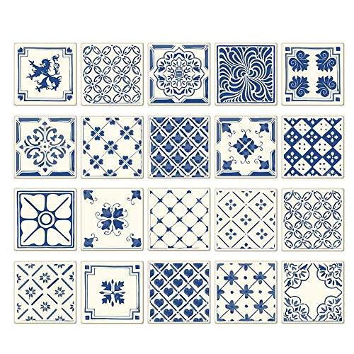 Allbesta 20 Stück 3D Fliesenaufkleber Deko Tile Style Decals Für Schlafzimmer Badezimmer Küche usw. 10x10cm/15x15cm/20x20cm
