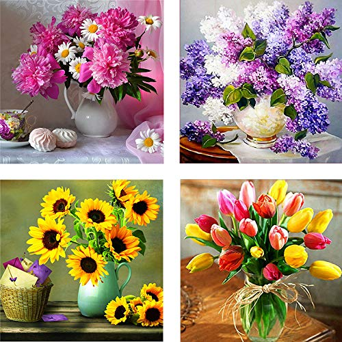 4 Pack 5D Full Drill Diamond Painting Art Dotz Kits for Adults Kids Flower Vase Large Diamond Paint by Numbers, 16X16inch
