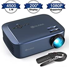 "$199 » Video Projector, GuDee 4500 LM Business Projector for Office PowerPoint Presentations (with PPT Clicker), 200"" Display HD 1080P Home Movie Projector for Laptop, Compatible TV Stick PS4 HDMI USB"
