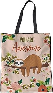 UOIMAG UOIMAG Einkaufstasche für Mädchen aus Segeltuch, Motiv: Faultier und Blume, als Geschenk