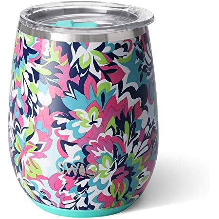Swig Life 14oz Triple Insulated Stainless Steel Stemless Wine Tumbler With Slider Lid Dishwasher Safe Vacuum Insulated Travel Wine Glass In Frilly Lilly Print Multiple Patterns Available Wine Glasses