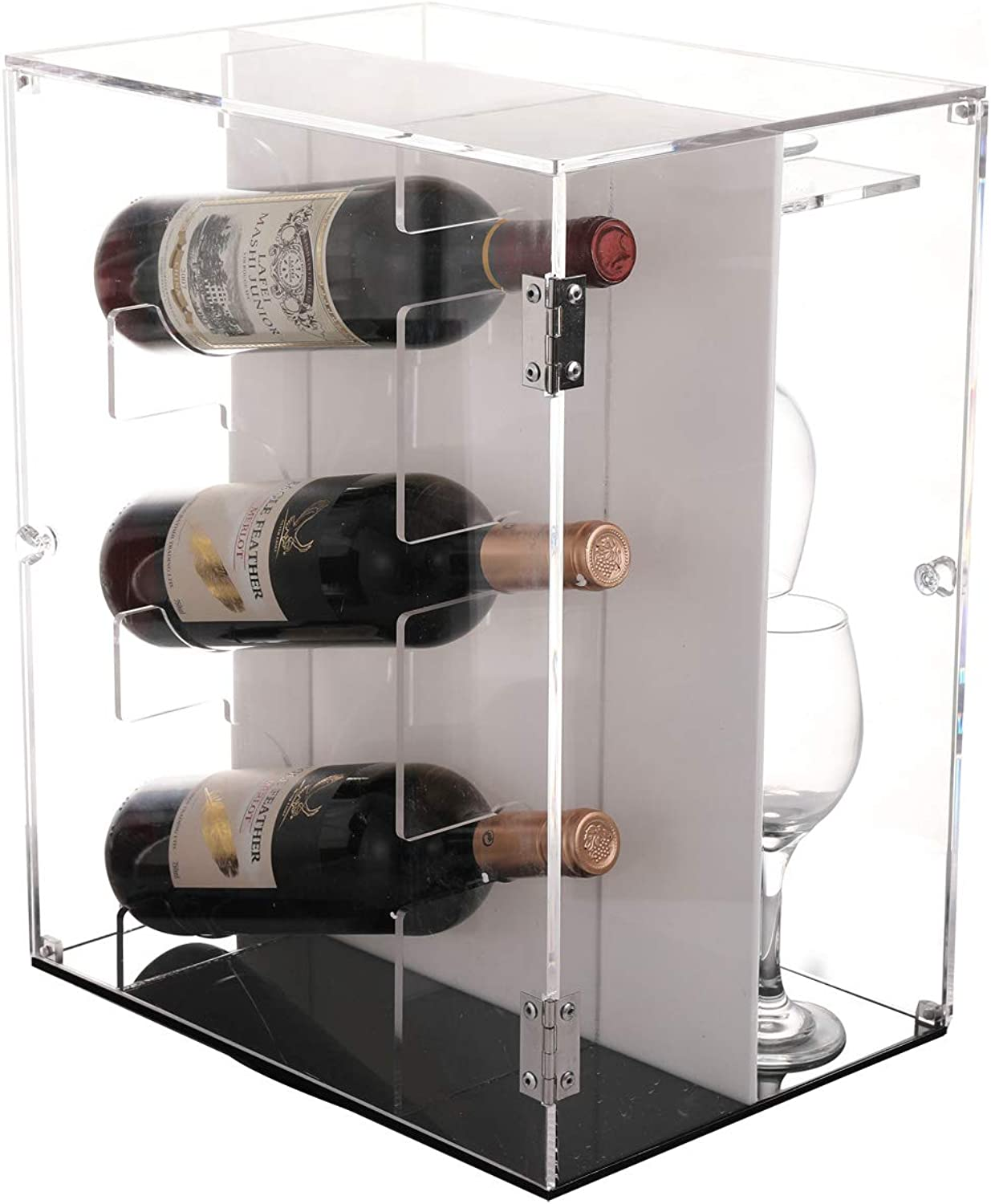 Sooyee Deluxe Acrylic Wine Cabinets,360 Degree redating Wine Rack Countertop,Freestanding Holder 3-7 Bottles Red and White Wine and 7 Glass Rack,Dustproof Wine Display Box,Clear