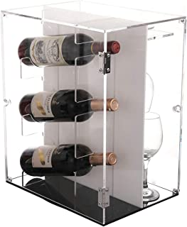 Sooyee Deluxe Acrylic Wine Cabinets,360 Degree Rotating Wine Rack Countertop,Freestanding Holder 3-7 Bottles Red and White Wine and 7 Glass Rack,Dustproof Wine Display Box,Clear