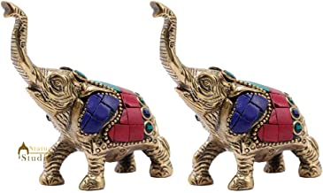 Statuestudio Brass Elephant Figurine for Home Decor Showpiece Diwali Corporate Gift Inlay Work (3 × 1 × 3 Inches)