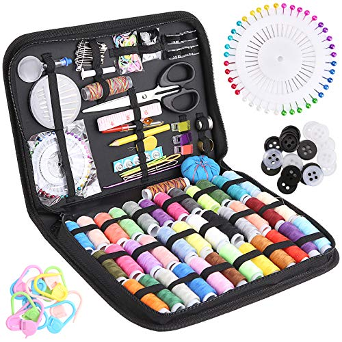 mreechan Kit de costura,Kit de costura con 183 piezas Accesorios de costura premium con funda de transporte,incluyen dedal, hilo, agujas y accesorios de costura para viajero,emergencia,familia