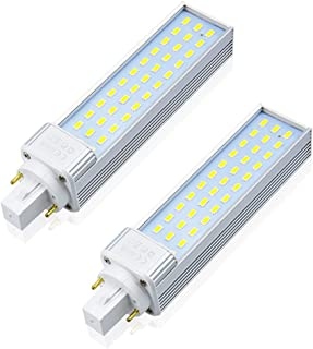G24 2 Pin LED PL Lamp, Lustaled 13W Rotatable G24D Base LED Bulb 2-Pin G24D-1 G24D-2 G24D-3 26W Warm White CFL Replacement for Recessed/Surface-Mounted Downlights, 2-Pack (Remove/Bypass The Ballast)