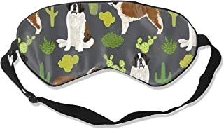 Saint Bernard Dog Breed Pattern Cactus Cacti 2 100% Silk Sleep Mask Comfortable Non-Toxic, Odorless and Harmless,Soft Blindfold Eye Mask Good for Travel and Sleep
