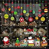 Xnuoyo Pegatinas Navideñas para Ventanas Decoraciones Navideñas para Ventanas Copo De Nieve Navideño Pegatinas para Ventanas Fiesta Navideña Papá Noel Muñeco De Nieve Trineo Pegatinas para Ventanas