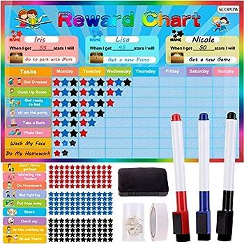 SCOPOW Responsibility Chart for Kids, Kids Reward Chart/Kids Chore Chart