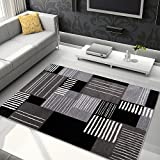 Tapiso Jawa Alfombra Salón Comedor Dormitorio Diseño Moderno Gris Negro Blanco Geométrico Pelo Denso Frise 80 x 150 cm