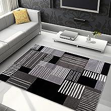Tapiso Jawa Alfombra Salón Comedor Dormitorio Diseño Moderno Gris Negro Blanco Geométrico Pelo Denso Frise 200 x 290 cm