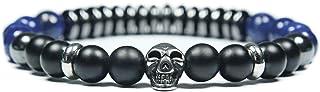 Skulls and Spirits - Convoy Lapislazuli - Pulsera con cranio de acciaio inossidabile y turquesa - Pulsera combinada (hecho...