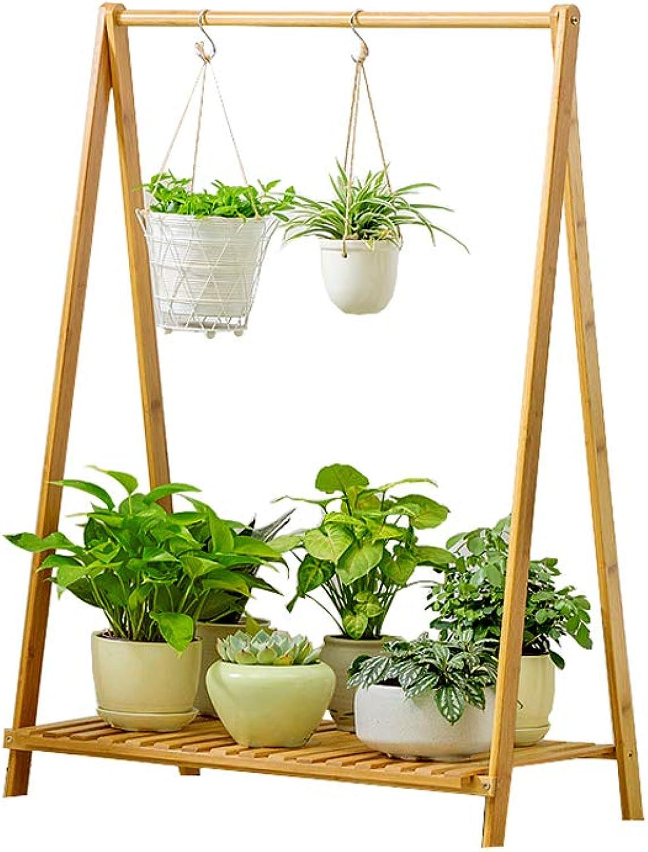 WYNZYHJ Plant Stand, Floor Folding Flower Shelf Simple Balcony Indoor Living Room Pot Rack (Size   M)