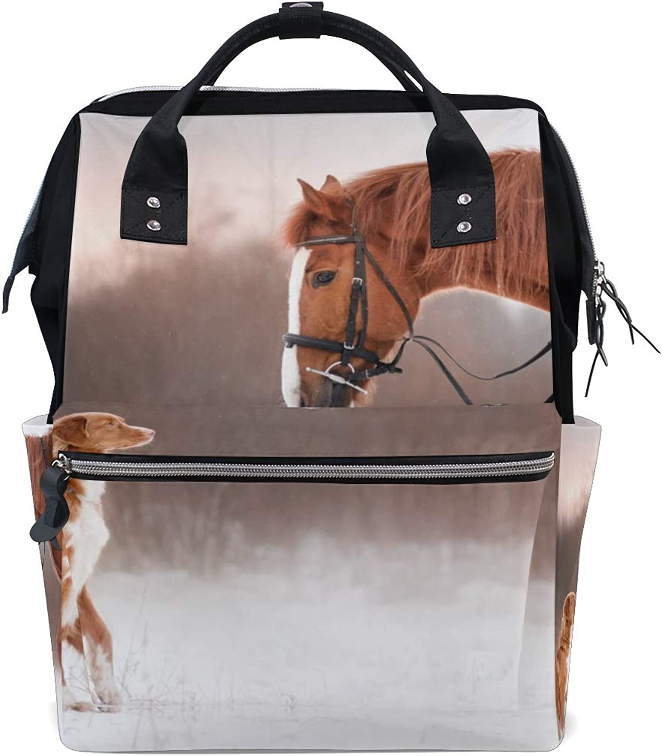 ColourLife Diaper bag Backpack Horse And Dog In Winter Casual Daypack Multifunctional Nappy Bags for Women Girls