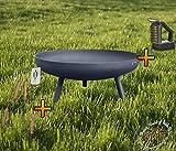 BTV Batovi MASSIV Feuerschale XXXL ca. 100cm für Grill, Camping, Garten Lagerfeuer, Stahl LEICHT UND FORMSTABIL, mit Runden Füßen, sowie 2 Griffen - Besteck und Bürste Füße...