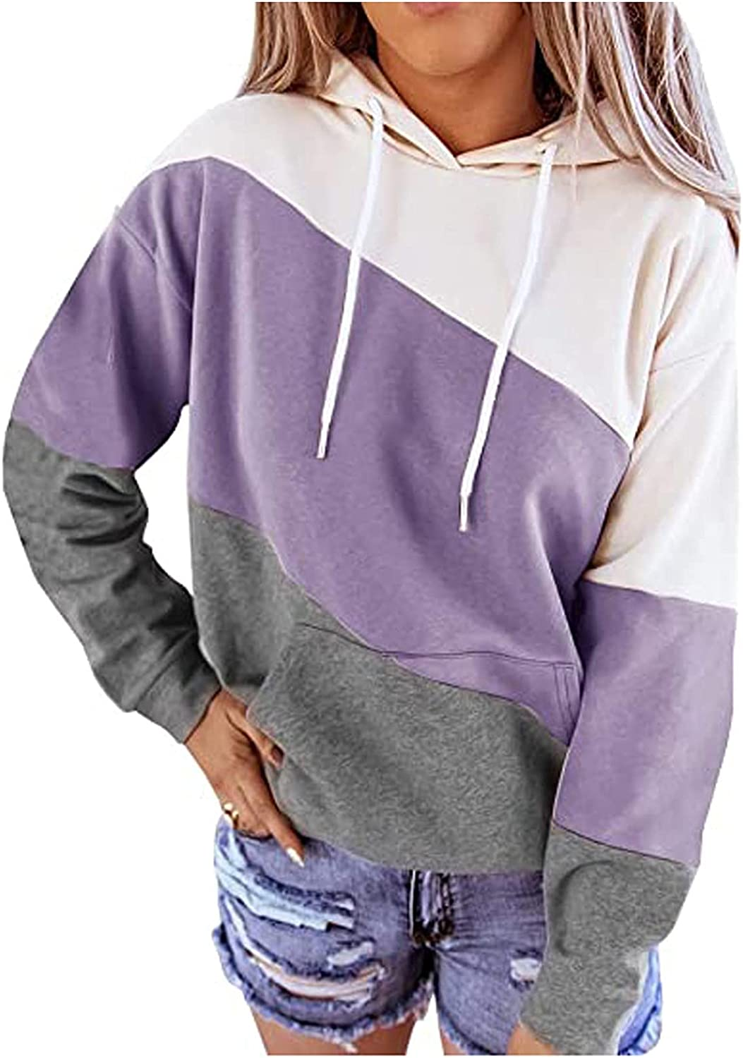 Workout Tops for Women, Color Block Hooded Sweaters Drawstring Long Sleeve Hoodies Casual Sweatshirts Pocket Pullover