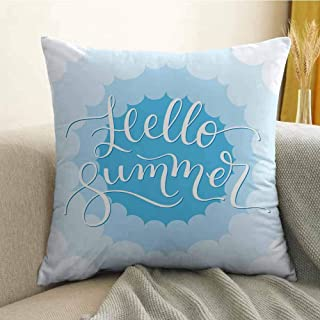 FreeKite Hello Summer Bedding Soft Pillowcase Vintage Typography Curvy Cloud Across The Sky with Shades of Blue Hypoallergenic Pillowcase W16 x L16 Inch Mint Green Seafoam Blue