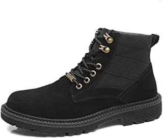 Sunny&Baby Ankle Boots for Men Work Boot Lace up Suede & Canvas Patchwork Low Heel Round Toe Metal Decor Stitching (Fleece Inside Optional) Durable (Color : Black, Size : 7 UK)