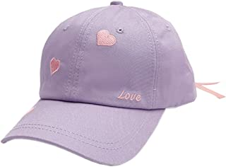 XueXian Womens Girls Heart Embroidered Baseabll Cap Sports Hat Lace Up Peaked Cap
