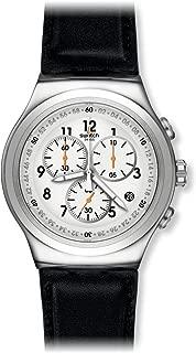 Men's L'Imposante Stainless Steel Quartz Watch with Leather Calfskin Strap, Black, 23 (Model: YOS451)