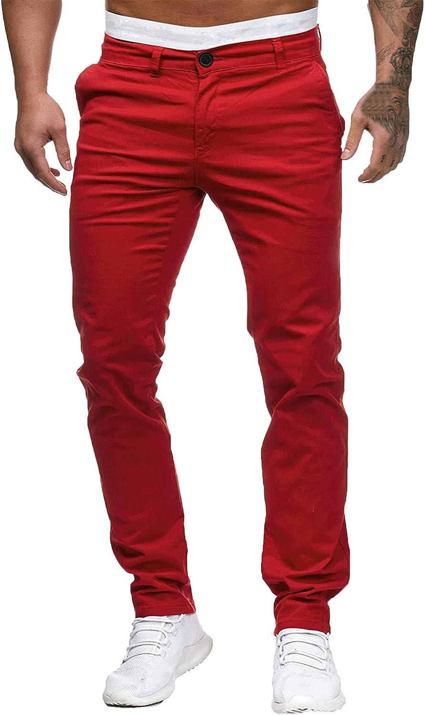 WUAI-Men Stretch Flat Front Chino Pant Slim Fit Casual Elastic Waist Workout Jogger Sweatpants Comfy Lounge Pants