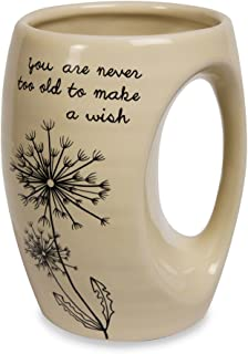 Pavilion Gift Company 77104 Dandelion Wishes You Are Never Too Old to Make a Wish Ceramic Hand Warmer Mug, Yellow
