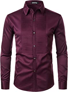 ZEROYAA Mens Hipster Ruffle Mandarin Collar Slim Fit Long Sleeve Casual Button Down Dress Shirts Tops