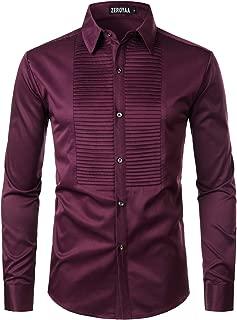 ZEROYAA Mens Hipster Ruffle Mandarin Collar Slim Fit Long Sleeve Casual Button Down Dress Shirts Tops