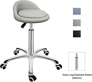 Grace & Grace Professional Gilder Series with Backrest Comfortable Seat Rolling Swivel Pneumatic Adjustable Heavy Duty Stool for Shop, Salon, Office and Home (Classic Steel Base, Beige)