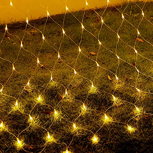 LZQ LED Lichternetz Lichtervorhang 3 x 2m, Lichterketten Vorhang 320 LEDs Warmweiß mit Haken und Anhänger, 8 Modi Dimmbar Kupferdraht mit Stecker für Party Weihnachten Außen Innen Schlafzimmer