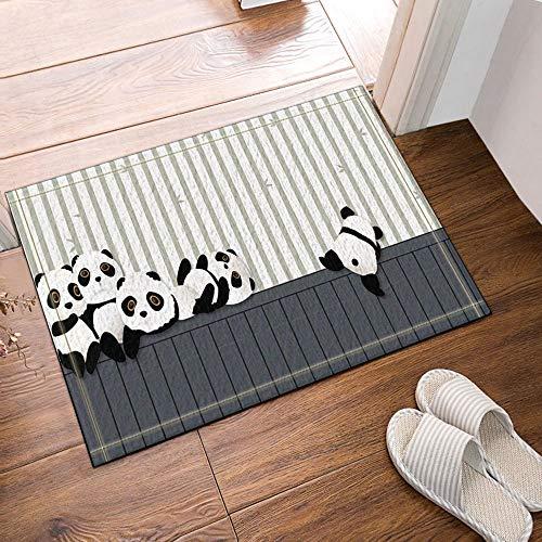 SRJ2018 Panda de Dibujos Animados Jugando en Las alfombras de baño de Madera Felpudo Antideslizante 60X40CM Interior