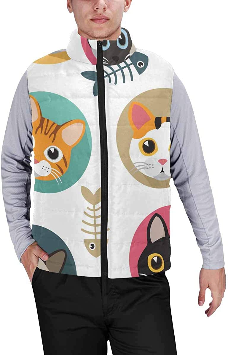 InterestPrint Casual Classic Quilted Sleeveless Vest for Men Cute Cats with Fish Bones