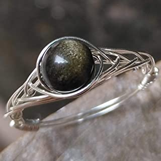 size10 Genuine Obsidian Lava Stone 925 Sterling Silver Handmade Ring(5-12# available) By GRB ROY