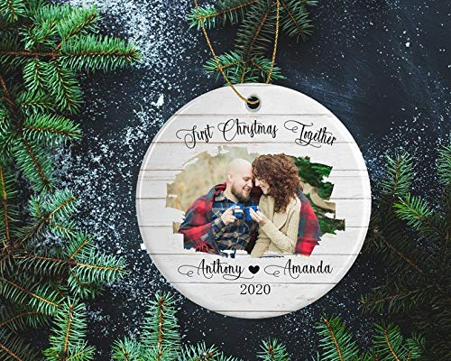 Decorations First Christmas Together Ornament Photo Frame Decoration for Tree - Personalized Gift for Engaged, Married Couples Items Decorative Wall Art for Christmas and Holidays
