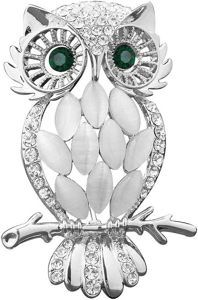 Korliya Owl Rhinestone Fashion Brooch Pin Gift P for Safety and trust Ranking TOP8 Girls Women