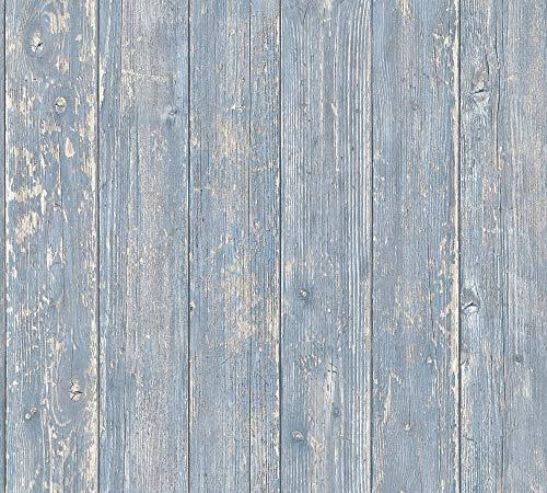 A.S. Création Vliestapete Authentic Walls 2 Tapete in maritimer Vintage Holz Optik fotorealistische Holztapete 10,05 m x 0,53 m blau beige Made in Germany 365732 36573-2