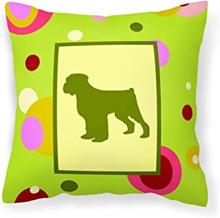 "Caroline's Treasures CK1074PW1414 Lime Green Dots Black Russian Terrier Pillow, 14"" x 14"", Multicolor"