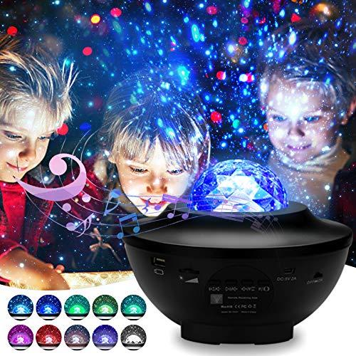 Hengda Proyector de Luz Estelar Giratorio, LED Reproductor de Música con Bluetooth y Temporizador, Lámpara Luz Nocturna de con Control Remoto, Niños/Decoración/Regalo