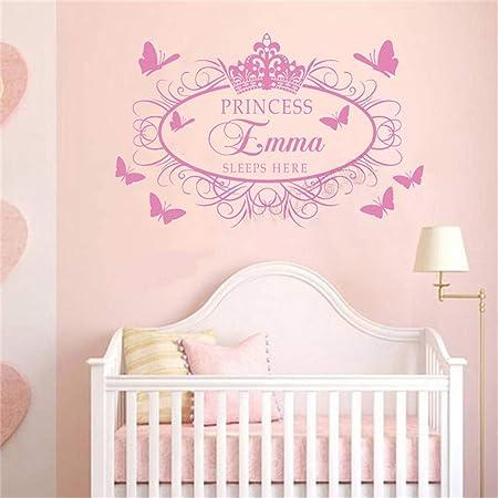 Stickers Mural Couronne de Princesse prénom personnalisable