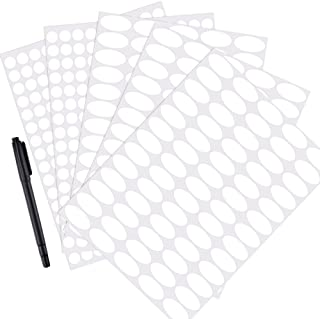 Mudder White Waterproof Essential Bottle Stickers Labels Oval-shaped and Round Oils Stickers with Marker Pen (5 Sheets)