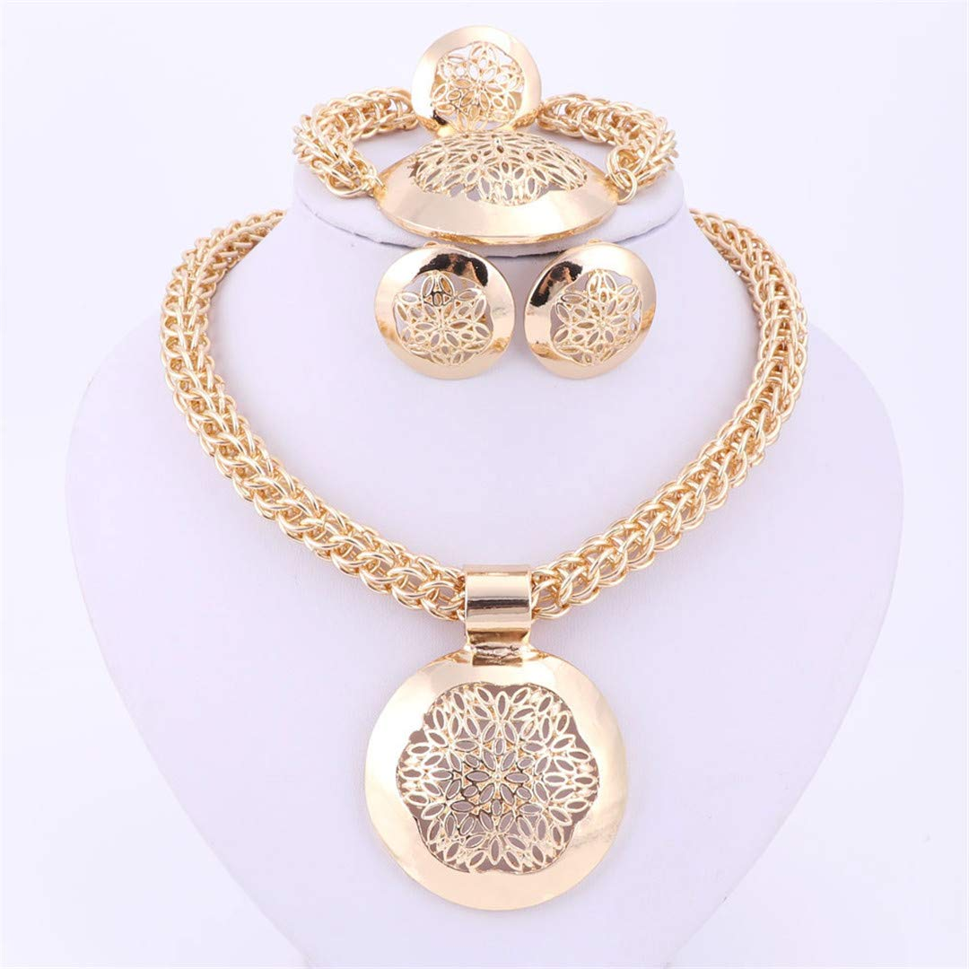 Fashion African Jewelry Set Round Pendant Gold Color Dubai Big Necklace Earrings Wedding Sets Gift For Women