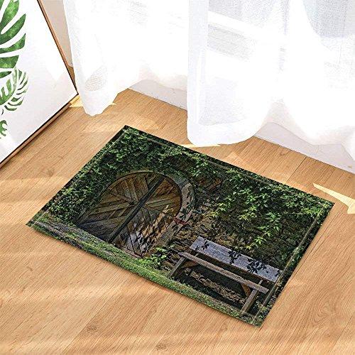 Emonye rustikale Deko Steinwand bedeckt Pflanzen und gewölbte Holzscheunentür mit Holzbank, Badteppich, rutschfeste Fußmatte, Fußmatte, Fußmatte, für den Innenbereich, 60 x 40 cm, Badezimmer-Zubehör