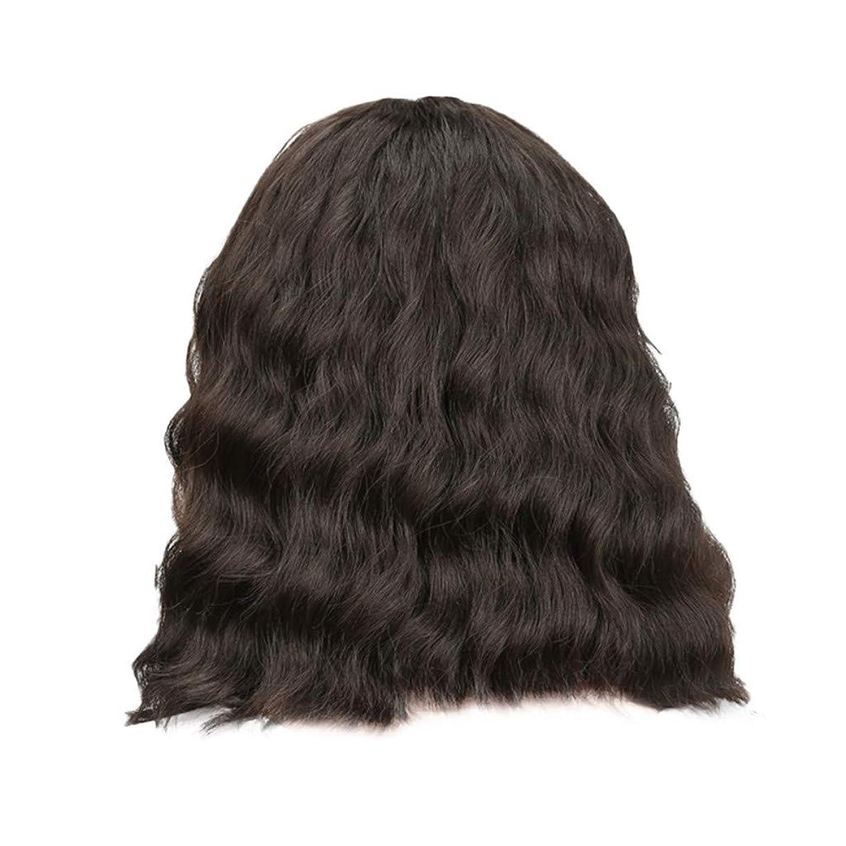 ツール毛布食器棚女性の黒の短い巻き毛のかつらボブ波かつらローズネット34 cm