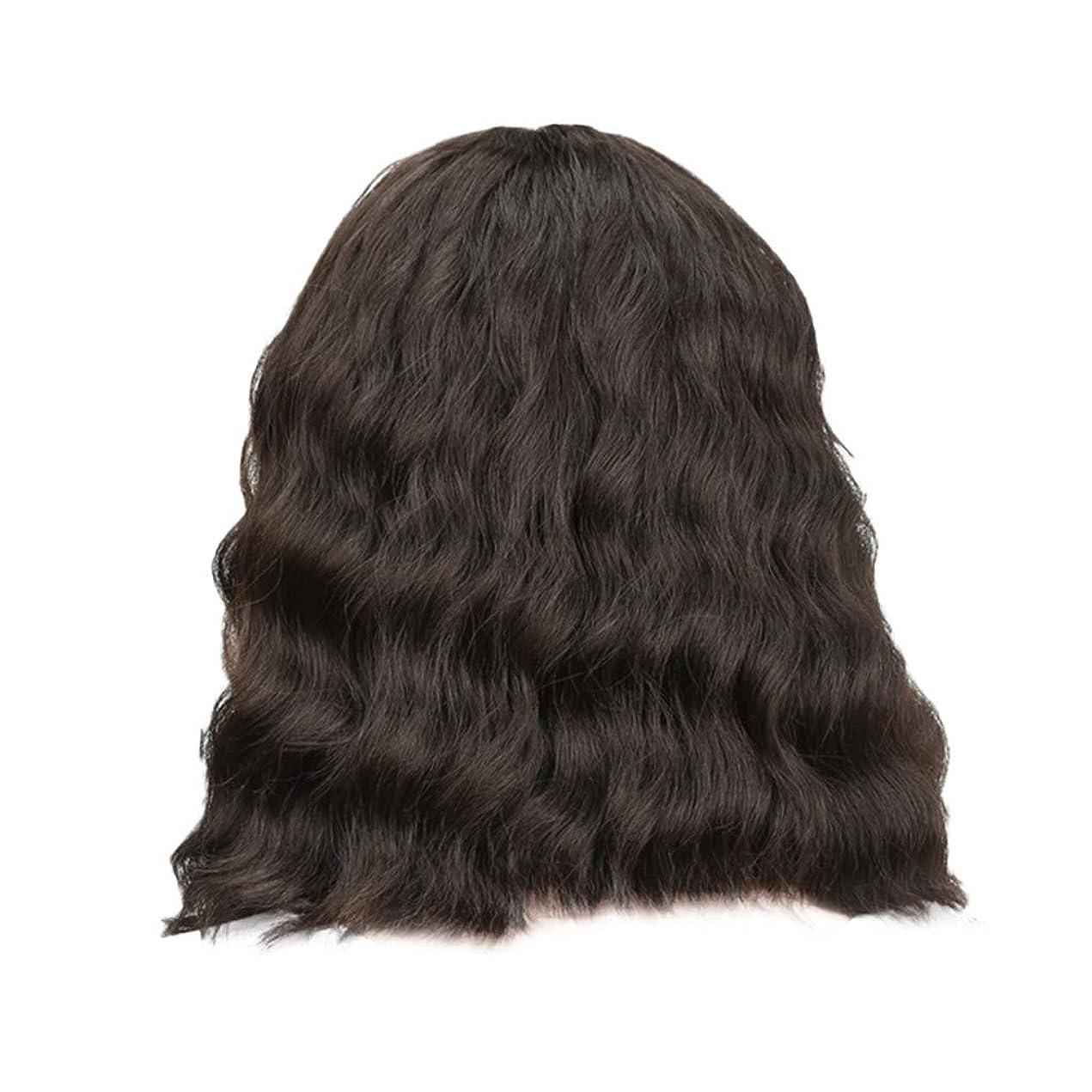 慈善スタイル鎖女性の黒の短い巻き毛のかつらボブ波かつらローズネット34 cm