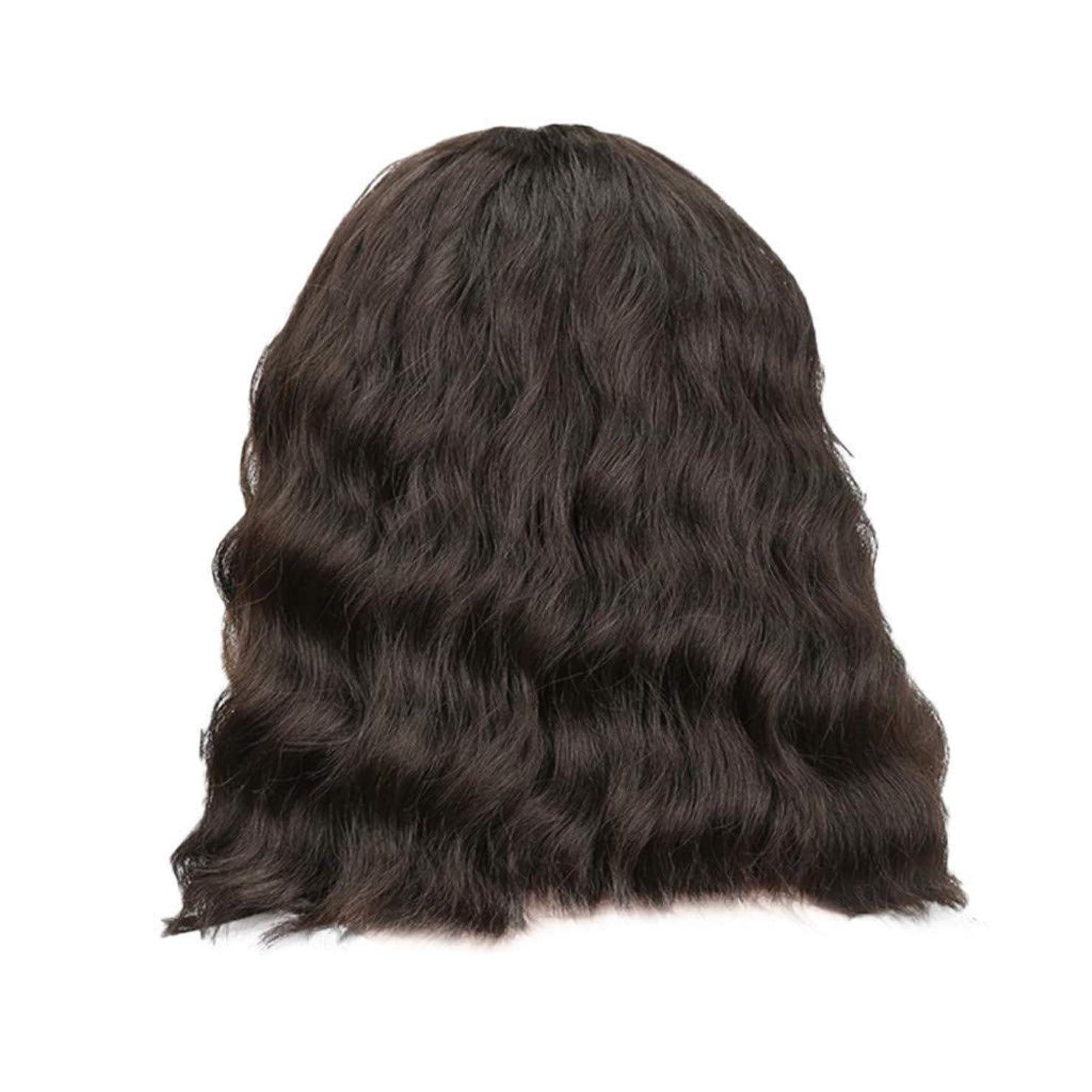 スペシャリスト助けてトーク女性の黒の短い巻き毛のかつらボブ波かつらローズネット34 cm