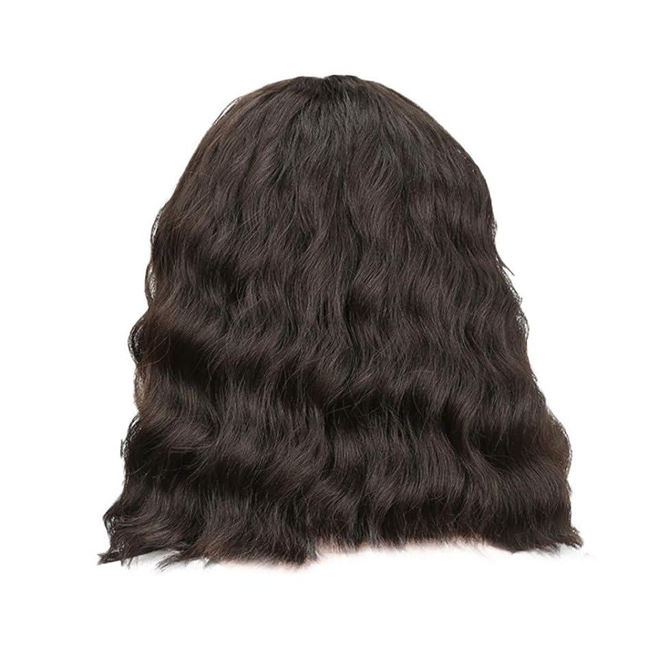 幻滅する中リダクター女性の黒の短い巻き毛のかつらボブ波かつらローズネット34 cm